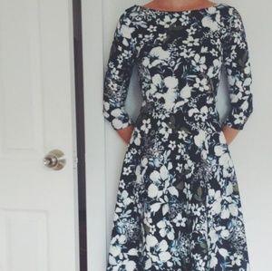 Nelli Uzun Boat Neck Floral Midi Dress Size 0